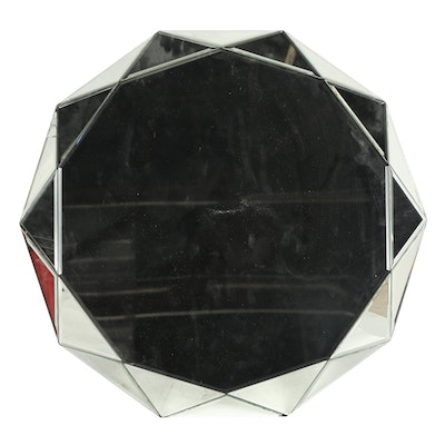 Contemporary Round Faceted Wall Mirror