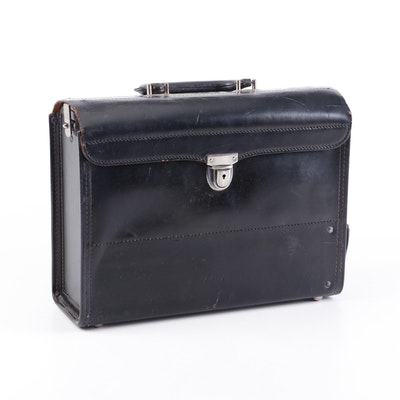 Knickerbocker Case Co. Black Leather Utility Briefcase, Vintage
