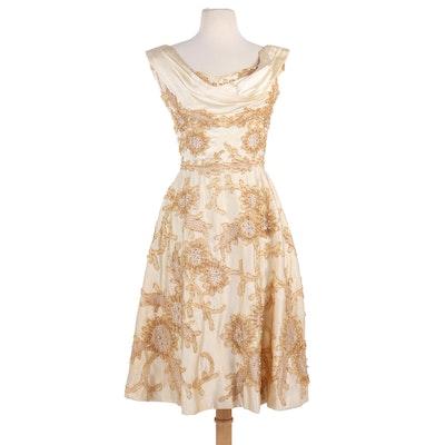 Ceil Chapman Silk Cocktail Dress with Gold Appliqué Detailing, 1950s Vintage