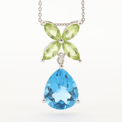 14K White Gold Blue Topaz, Peridot and Diamond Necklace