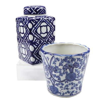 Blue and White Porcelain Planter and Lidded Vessel