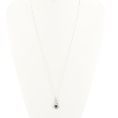 Sterling Silver Blue and White Synthetic Sapphire Pendant and Necklace