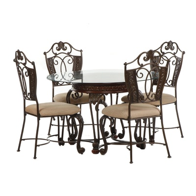 Ashley Furniture Transitional Glass Top Dining Table with Four Chairs