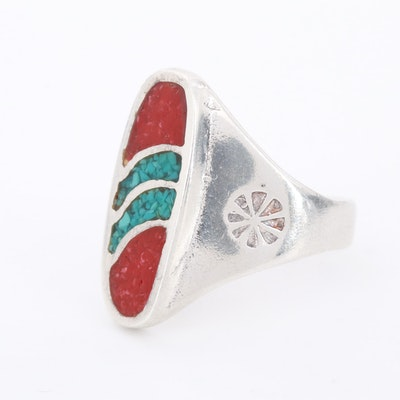 Southwestern Style Sterling Silver Turquoise and Coral Pieces in Resin Ring