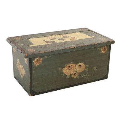 Folk Art Painted Lift-Lid Chest, Signed McBishop, 20th Century