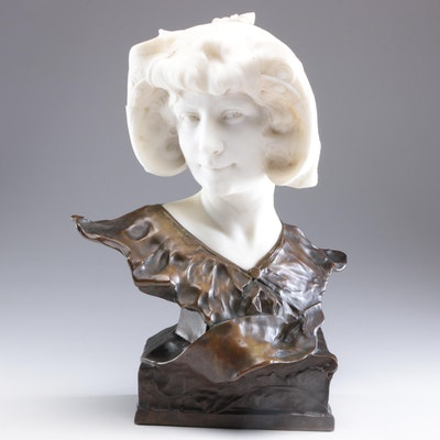 Paul François Berthoud Female Bust Alabaster and Cast Bronze Sculpture