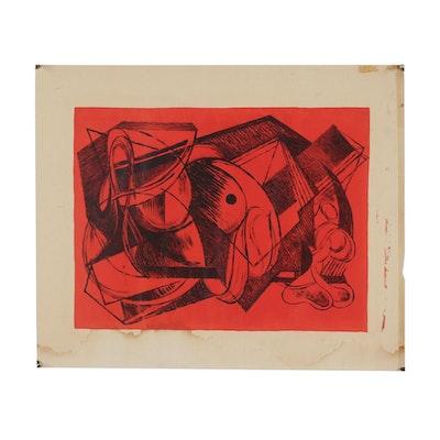 Arthur Helwig Cubist Style Lithograph