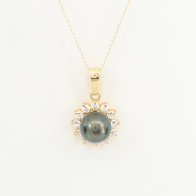 18K Yellow Gold Culture Pearl and Cubic Zirconia Necklace