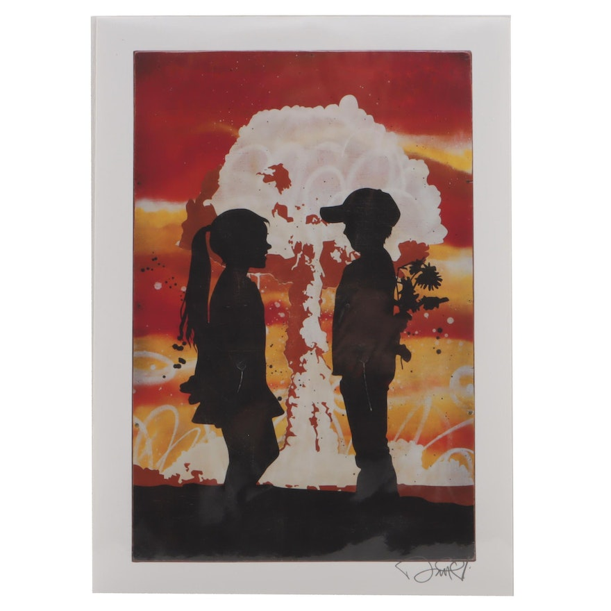 "Enjoy Denial Serigraph ""Boy and Girl Silhouette"""