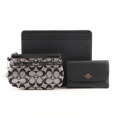 Coach Gallery Wristlet, Black Pebbled Leather Wallet and Varick Nylon iPad Case