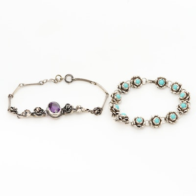 Sterling Silver Amethyst and Imitation Turquoise Floral Bracelets