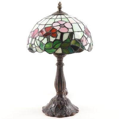 Art Nouveau Style Floral Slag Glass Table Lamp, Contemporary