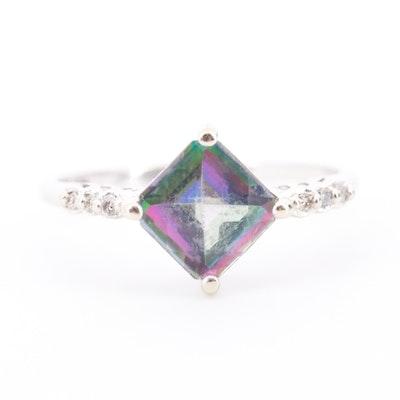 14K White Gold Mystic Topaz and Diamond Ring