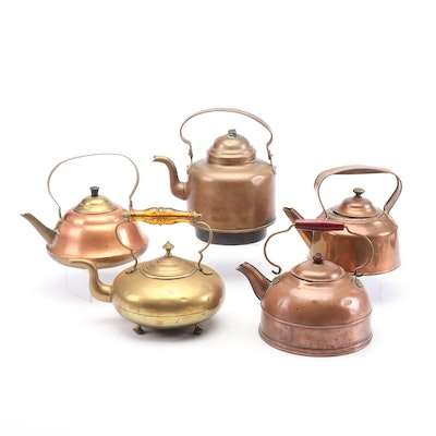 Copper and Brass Tea Kettles Including Saw Boras