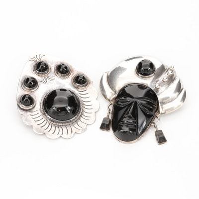 Mexican Sterling Silver Black Onyx Brooches