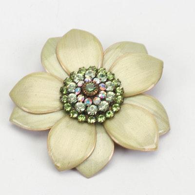 Lizpaiacios Enameled Brass Flower Brooch