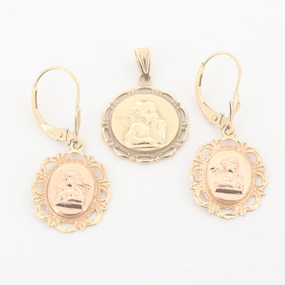 Michael Anthony 14K Yellow and Rose Gold Cherub Pendant and Earrings Set