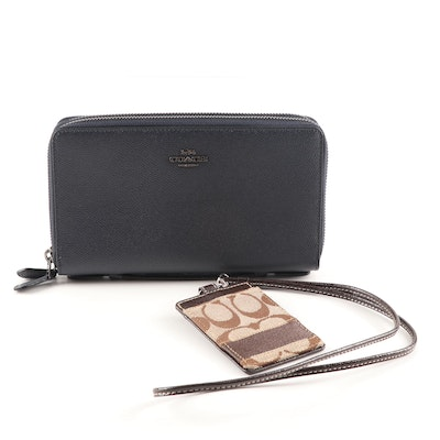 Coach Midnight Leather Double Zip Travel Organizer and Lanyard Case