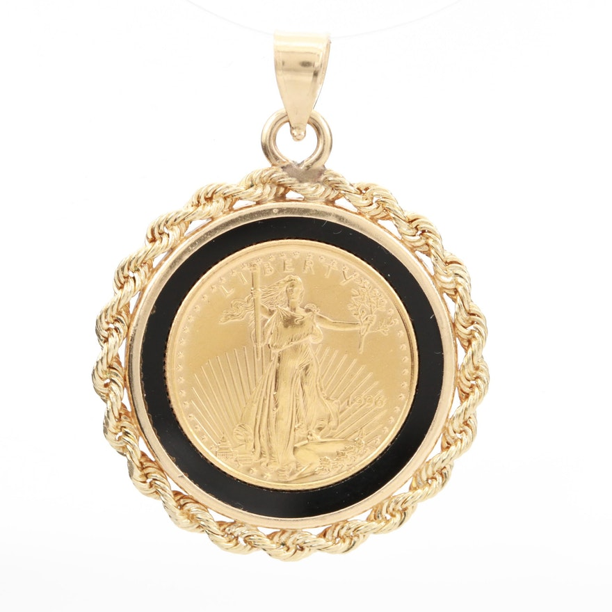 14K Yellow Gold Black Onyx Coin Bezel with Inlaid Five Dollar Gold Eagle Coin