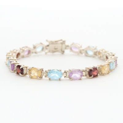 Sterling Silver Bracelet Featuring Amethyst, Blue Topaz and Citrine