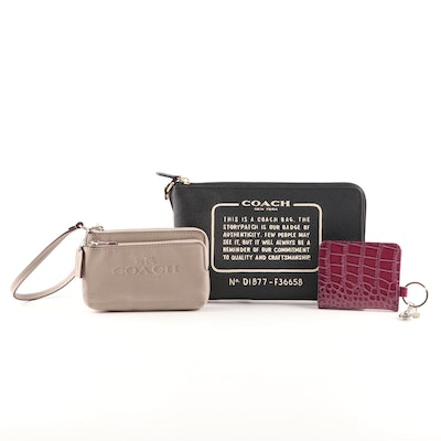 Coach Pebbled Leather Pouch and Wristlet and Caprice Embossed Card Case