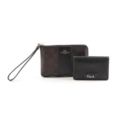 Coach Signature Pebbled Leather Small Wristlet and Black Leather Card Case