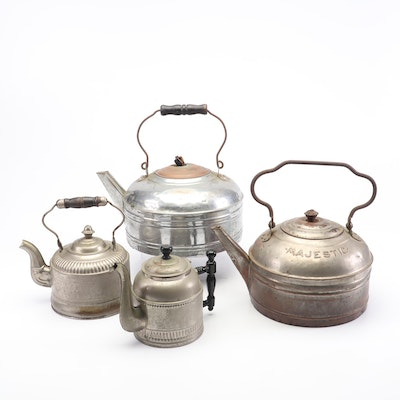 Tin and Copper Tea Kettles, Vintage
