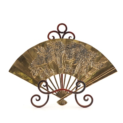 Chinese Style Brass Decorative Hand Held Fan with Bronze Metal Stand