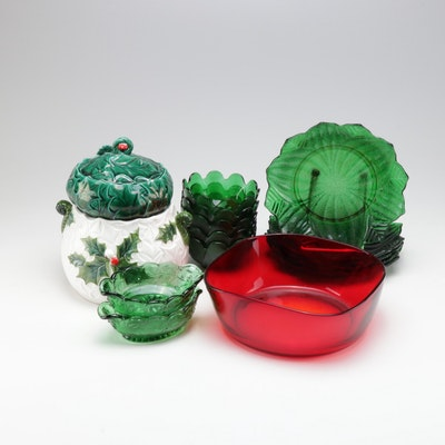 Lefton Christmas Jars with Red and Green Glass Dinnerware