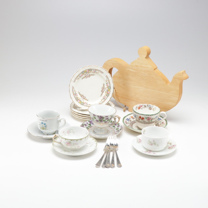 MacKenzie-Childs Teapot Cutting Board with Teacup and Plate Set