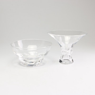 "Steuben Art Glass ""Bouquet"" Vase and ""Florette"" Bowl, Mid-Century"