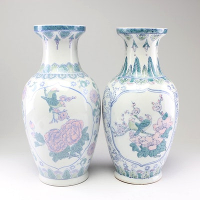 Chinese Floral Motif Ceramic Vases