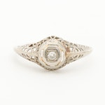Edwardian 14K Yellow Gold Diamond Ring With Vintage Box