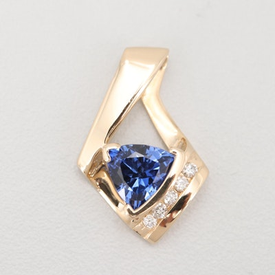 14K Yellow Gold 2.49 CT Sapphire and Diamond Pendant