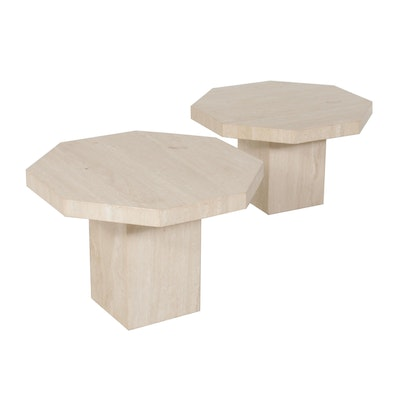 Contemporary Travertine Marble Octagonal Table Set