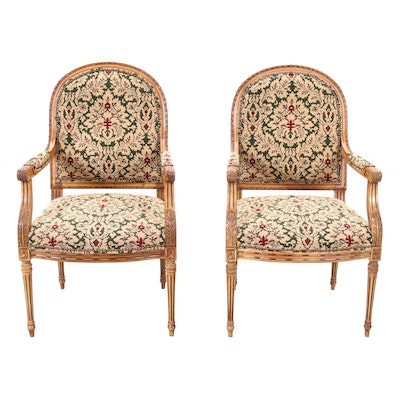 Pair of Fairfield Louis XVI Style Upholstered Beech Armchairs, Circa 1990s