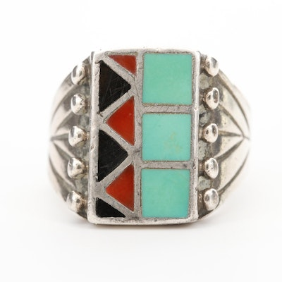 Southwestern Style Sterling Silver Turquoise, Coral and Black Onyx Ring