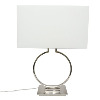 Contemporary Chrome Table Lamp with Box Shade