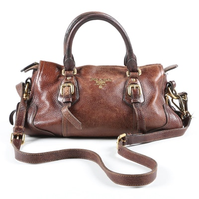 Prada Satchel in Distressed Chestnut Grained Leather with Shoulder Strap