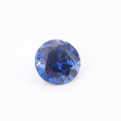 Loose Round Faceted Synthetic Sapphire Gemstone