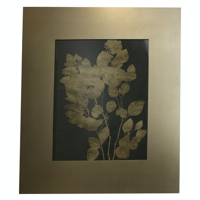 Decorative Foliate Print with Wide Gold-Tone Acrylic Frame