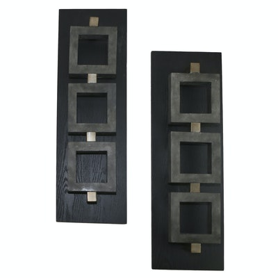 Pair of Abstract Wood and Metal Wall Hangings