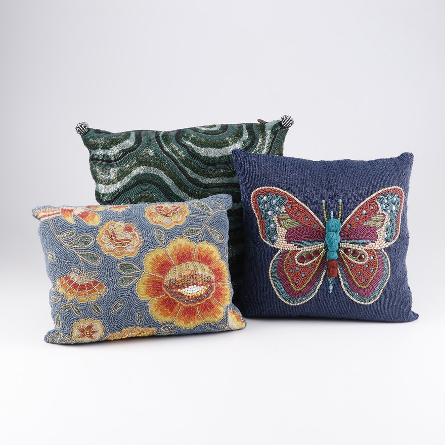 MacKenzie-Childs Cotton Blend Beaded Accent Pillows