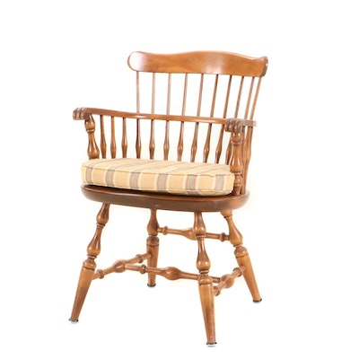 Federal Style Barrel Chair with Cushion, Mid to Late 20th Century