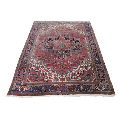 8' x 10'11 Hand-Knotted Persian Heriz Room Sizes Rug, Circa 1940s