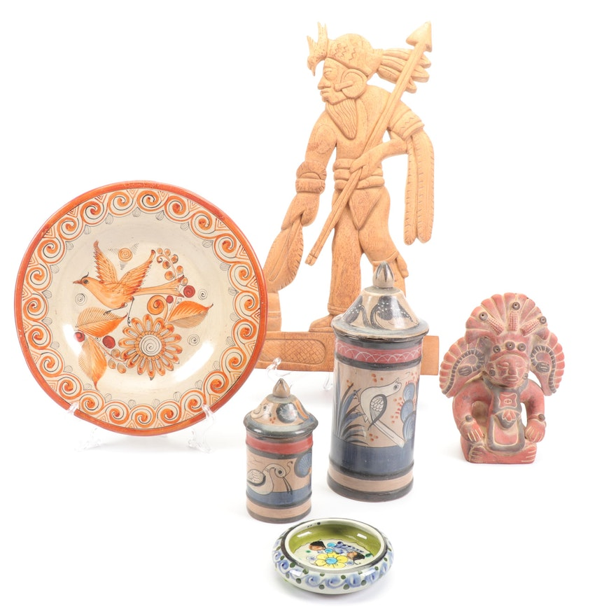 Mexican Jalisco Stoneware Canisters with Wood Carving and More