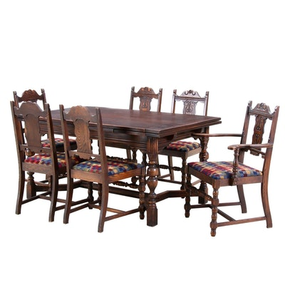Jacobean Style Oak Dining Table and Chairs