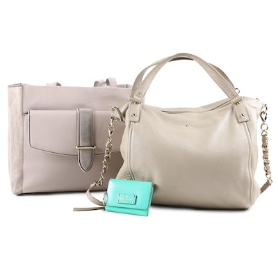 Kate Spade Roselyn Hunts Place Tote with Pebbled Leather Satchel and Key Wallet