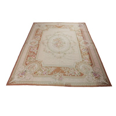 9' x 12' Hand-Stitched Sino-French Aubusson Needlepoint Rug