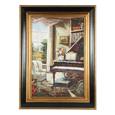 Impressionist Style Oil Painting of Interior with Piano